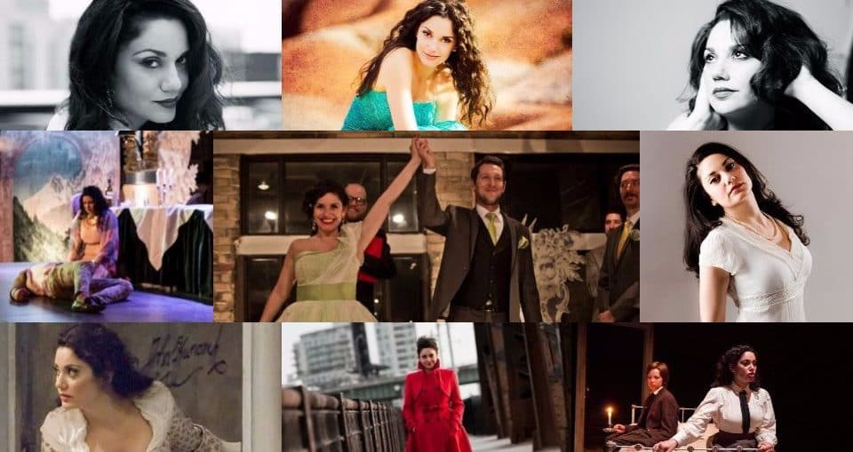 image collage of Miriam in various studios as well as on stage